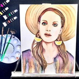 """Original Painting! Watercolor """"The Hat Lady"""""""